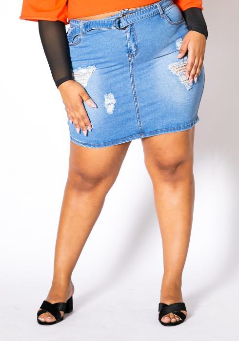 Asoph Plus Size Perfectly Distressed Womens Light Wash Denim Skirt