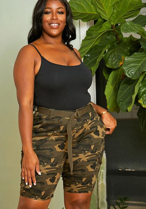Asoph Plus Size Camo Utility Shorts