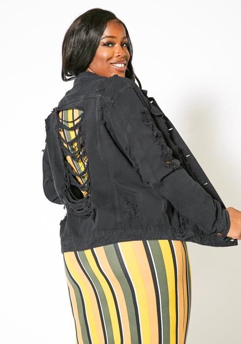 Asoph Plus Size Black Distressed Women Denim Jacket