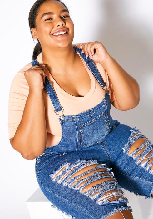 Asoph Plus Size Ripped Overall Denim Shorts