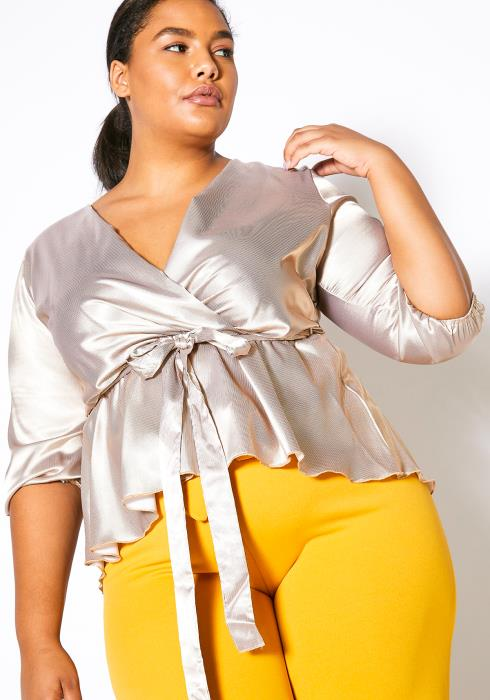 Asoph Plus Size Metallic Satin Wrap Blouse