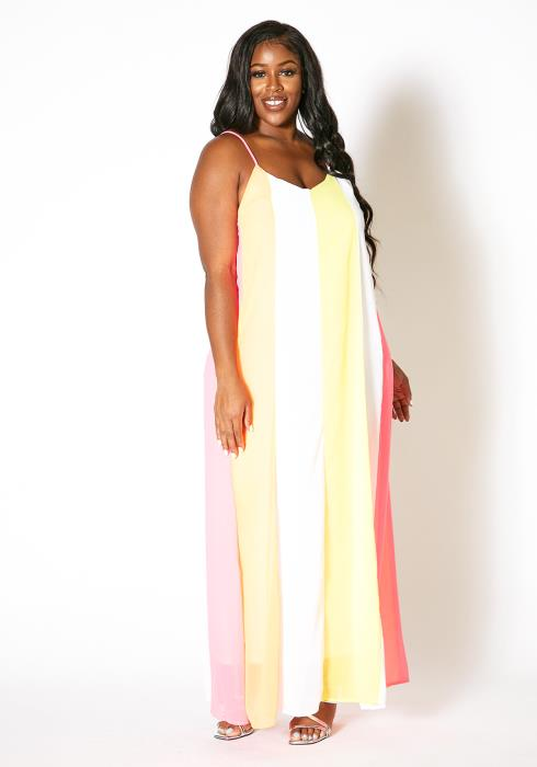 Asoph Plus Size Pastel Land Maxi Dress