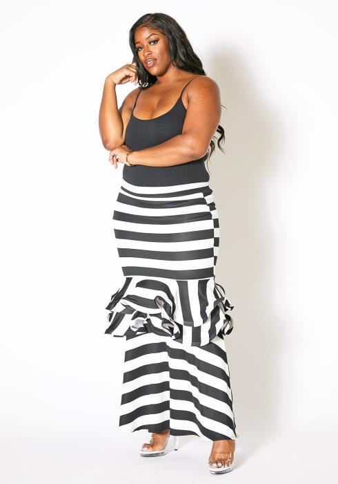 Asoph Plus Size Striped Ruffle Maxi Skirt