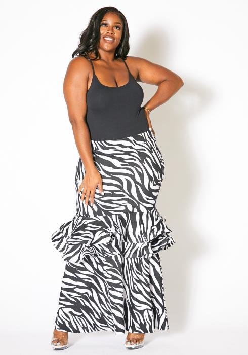 Asoph Plus Size Womens Zebra Print Maxi Skirt