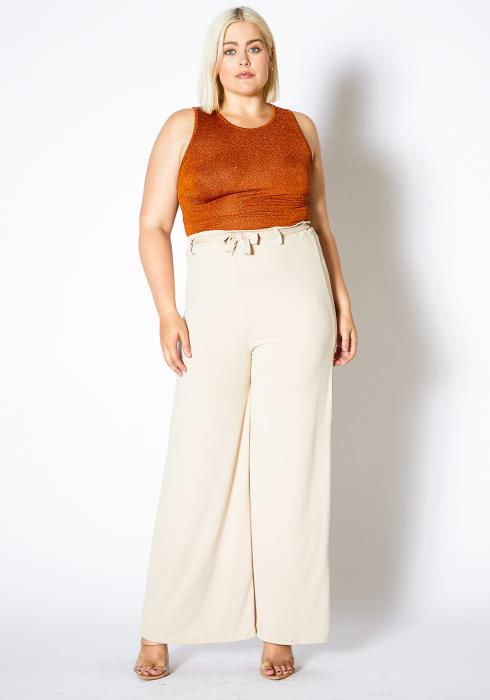 Asoph Plus Size High Waisted Womens Wide Leg Pants