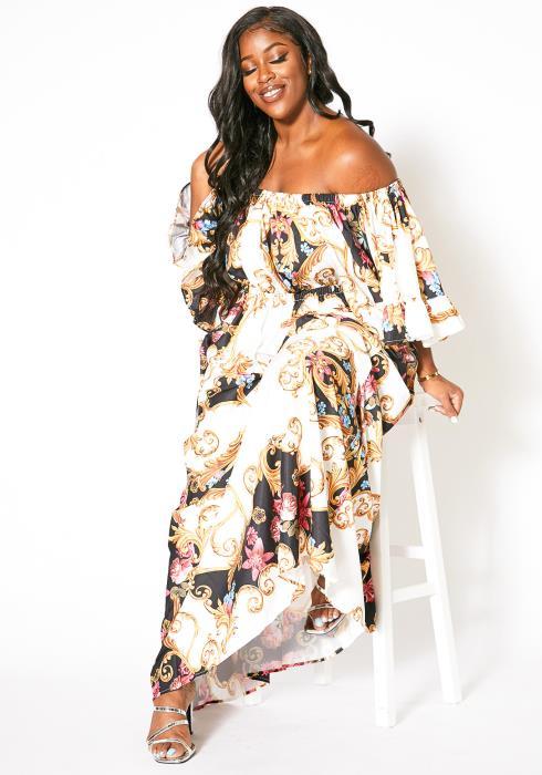 Asoph Plus Size Oriental Maxi Dress