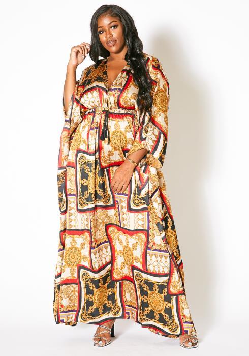 Asoph Plus Size Ethnic Batwing Maxi Dress