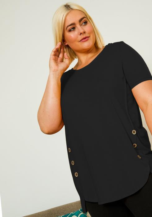 Asoph Plus Size Casual Button Hemmed Women Blouse