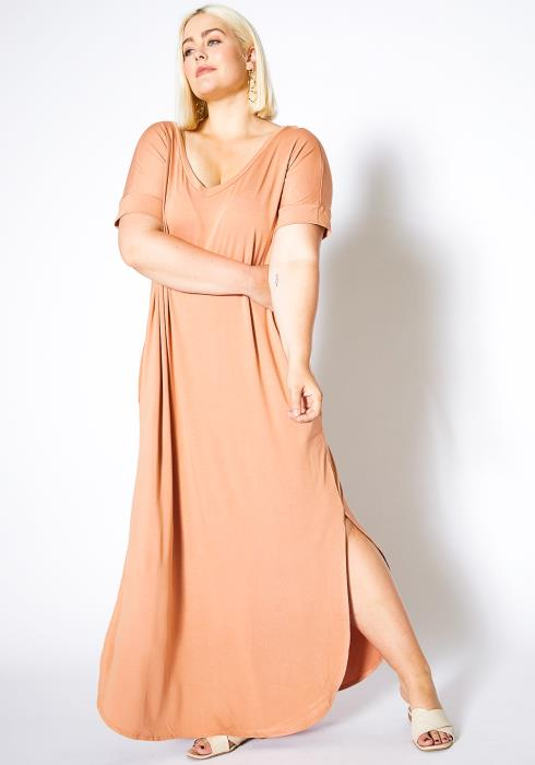 Asoph Back to Basic Double Slitted Womens Maxi Dress