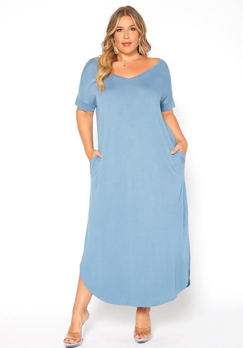 Asoph Plus Size Back to Basic Double Slit Maxi Dress