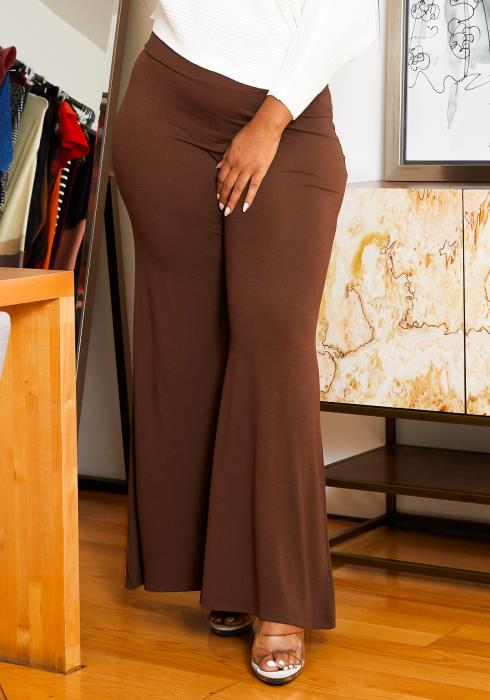 Asoph Plus Size High Waisted Flare Women Pants