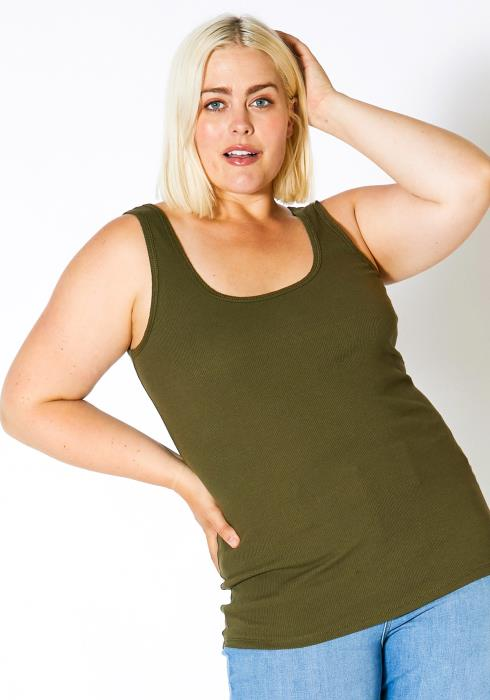 Asoph Plus Size Womens Basic Ribbed Tank Top