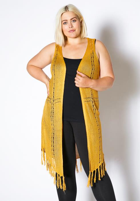 Asoph Plus Size Women Fringe Knitted Vest Cardigan