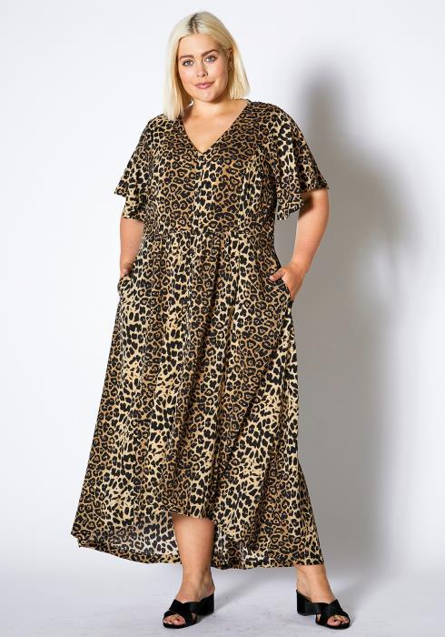Asoph Plus Size Womens Cheetah Print Surplice Maxi Dress