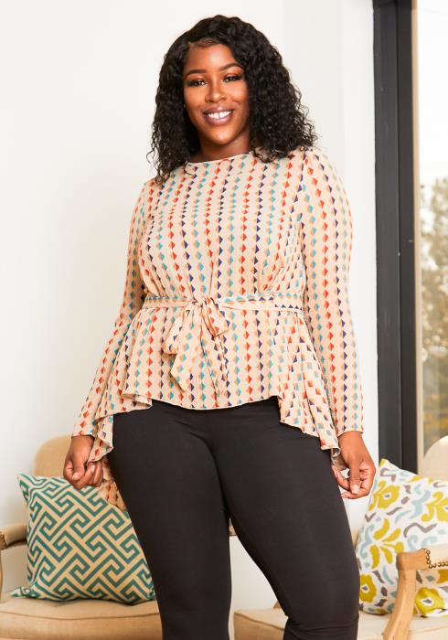 Asoph Plus Size Womens Rhombus Patterned High to Low Blouse