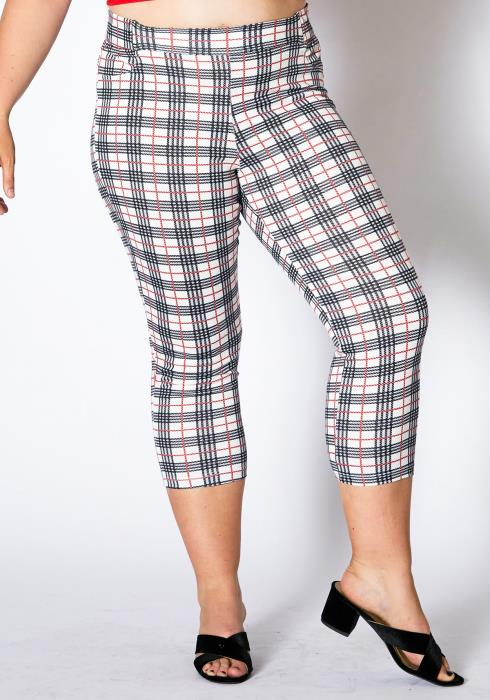Asoph Plus Size Plaid Patterned Women Pant Leggings