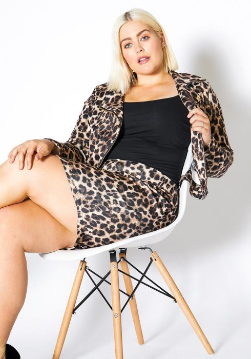 Asoph Plus Size Satin Leopard Women Jacket