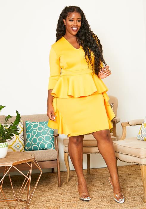 Asoph Plus Size Surplice Ruffle Layered Womens Party Dress