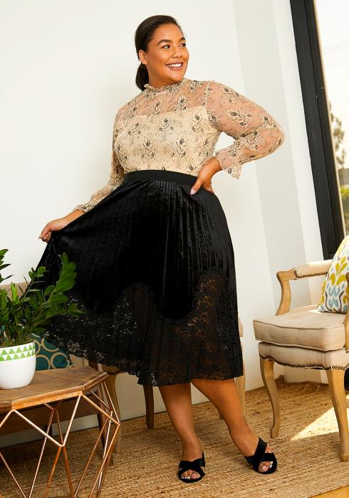 Asoph Plus Size Womens Velvet Pleated Skirt