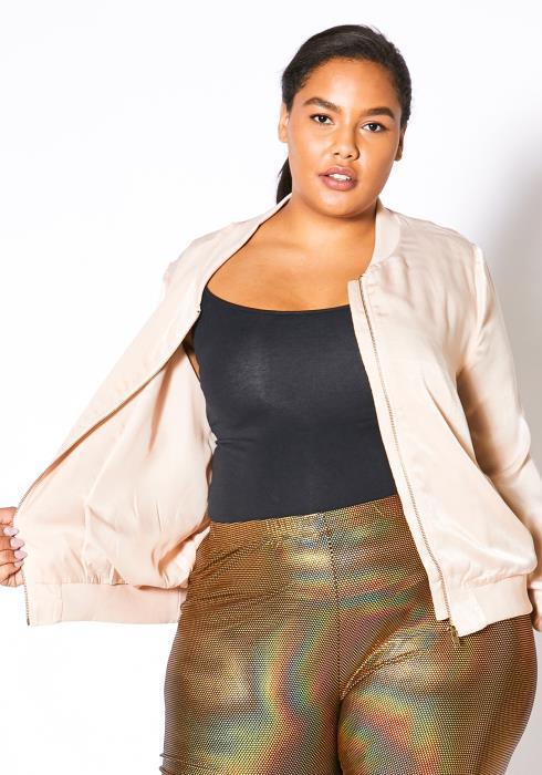 Asoph Plus Size Womens Blush Pink Satin Bomber Jacket