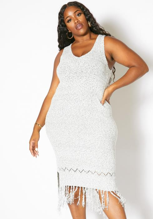 Asoph Plus Size Comfy Knitted Womens Fringe Dress