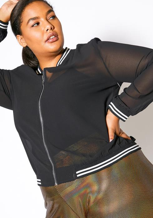Asoph Plus Size Varsity Mesh Zip Up Jacket
