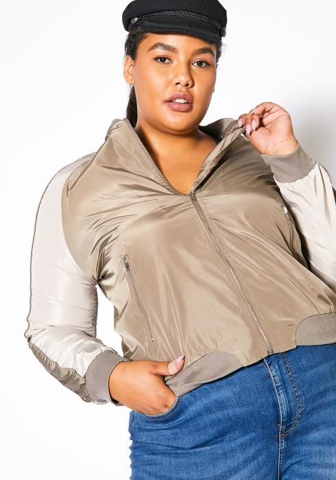 Asoph Plus Size Zip Up Bomber Jacket