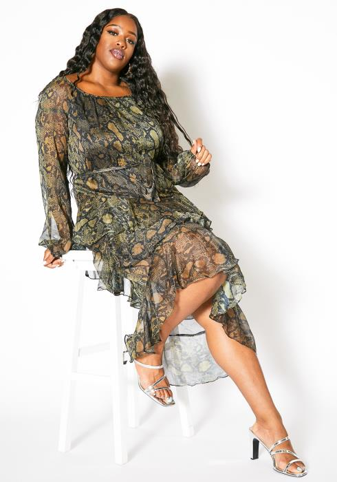Asoph Plus Size Womens Forest Snakeskin Printed Asymmetrical Midi Dress
