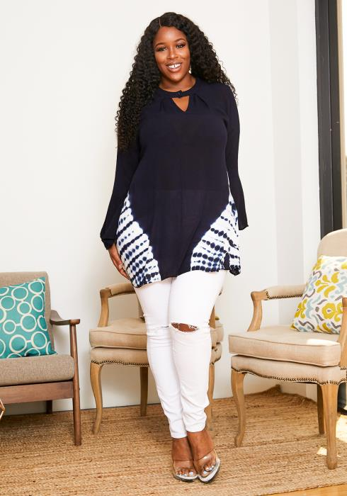 Asoph Plus Size Cloud Tie Dye Womens Keyhole Blouse