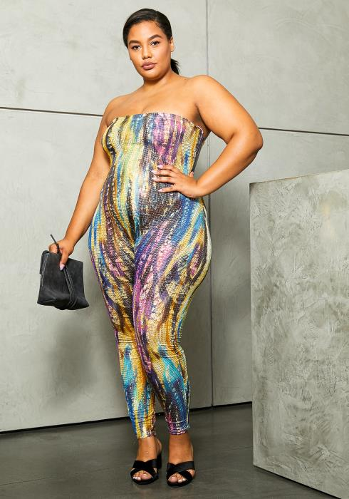 Asoph Plus Size Wondrous Reflective Womens Tube Jumpsuit