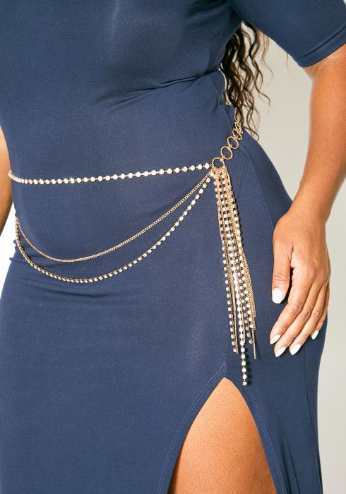 Plus Size Customized Layered Cubic Chain Belt