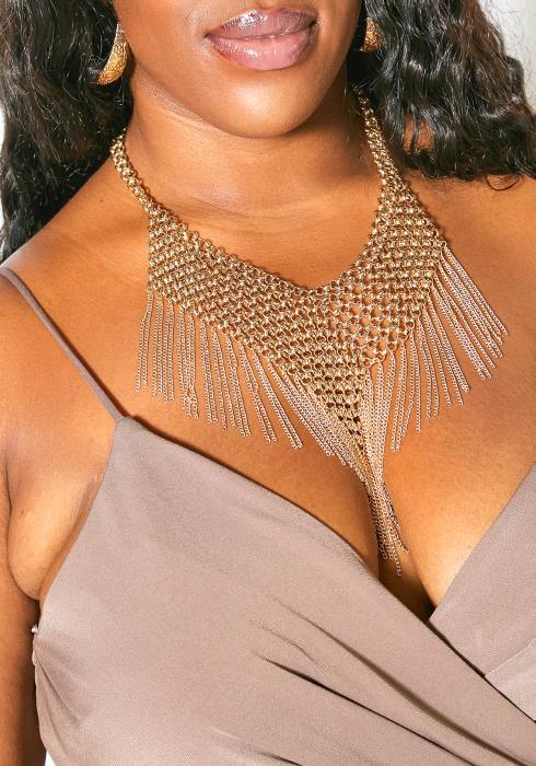 Esbon Plus Size Chain Mesh Necklace