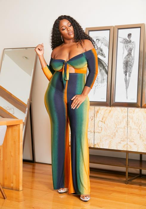 Asoph Plus Size Off Shoulder Womens Gradient Rainbow Flared Jumpsuit