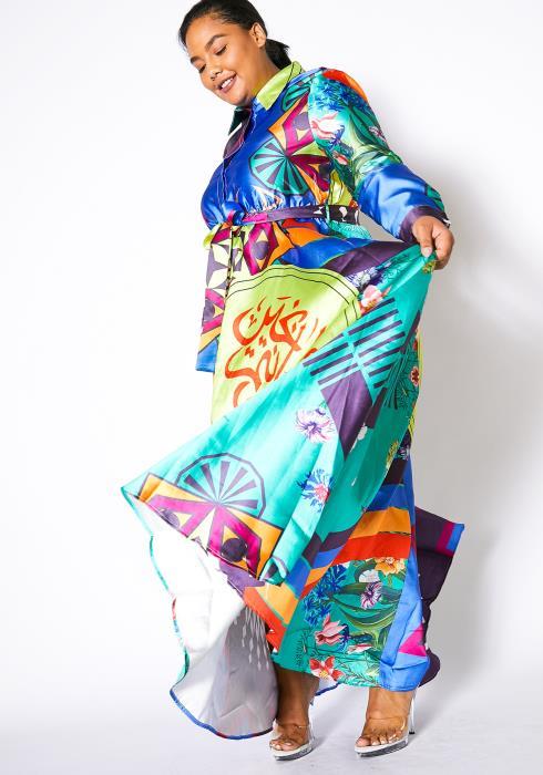 Asoph Plus Size Ethnic Print Block Maxi Shirt Dress