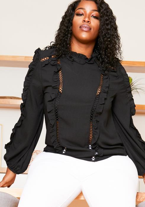 Asoph Plus Size Womens Mock Neck Ruffled Blouse