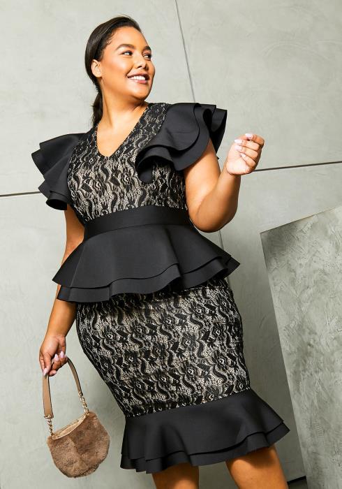 Asoph Plus Size First Class Womens Lace Ruffled Dress