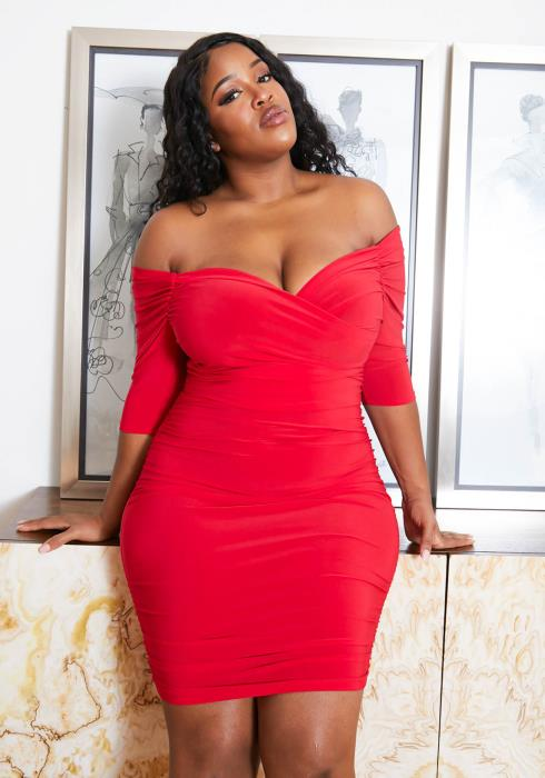 Asoph Plus Size Off Shoulder Ruched Womens Bodycon Dress
