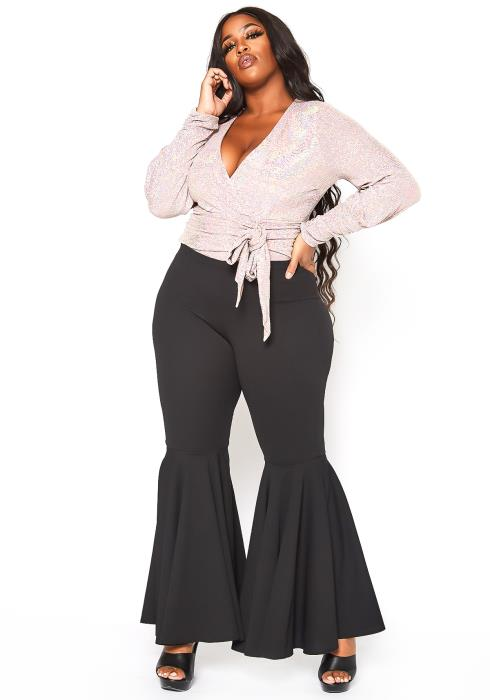 Plus Size Bell Bottom Flared Pants