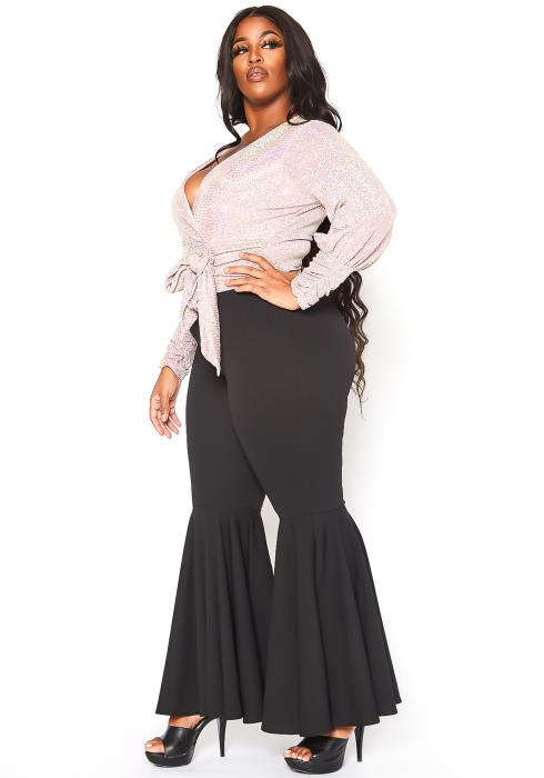 Asoph Plus Size Womens Basic Bell Bottom Flared Pants