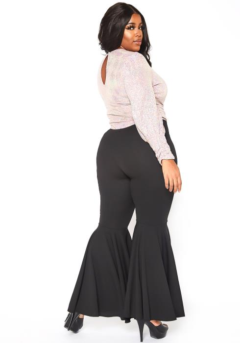 Asoph Plus Size Womens Basic Bell Bottom Flared Pants