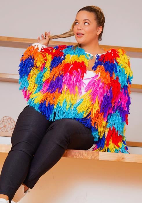 Asoph Plus Size Fuzzy Fringe Womens Coat