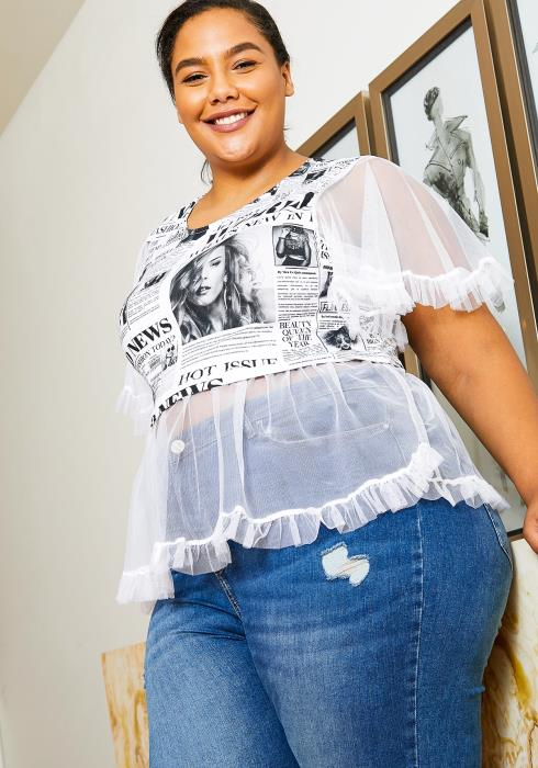 Asoph Plus Size News Print Ruffle Mesh Womens Graphic Top