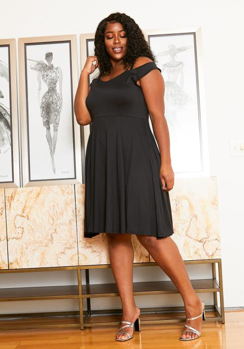 Asoph Plus Size Strappy Off the Shoulder Fit and Flare Party Dress