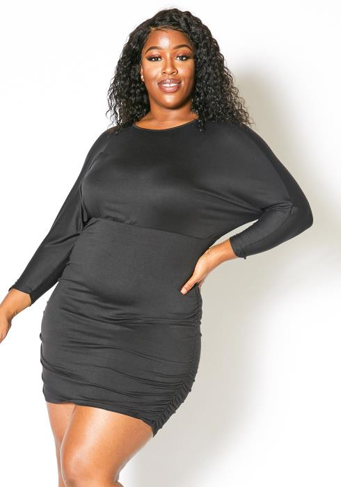 Asoph Plus Size Ruched Bodycon Dress