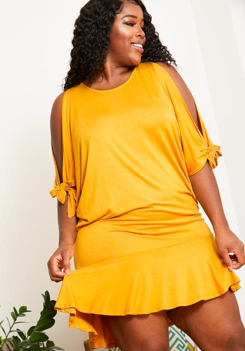 Asoph Plus Size Womens Mini Ruffled Cold Shoulder Dress