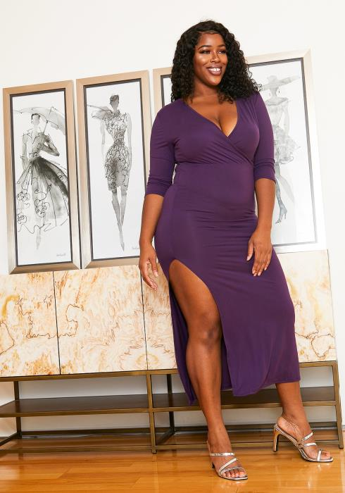 Asoph Plus Size Surplice Maxi Slit Hem Dress