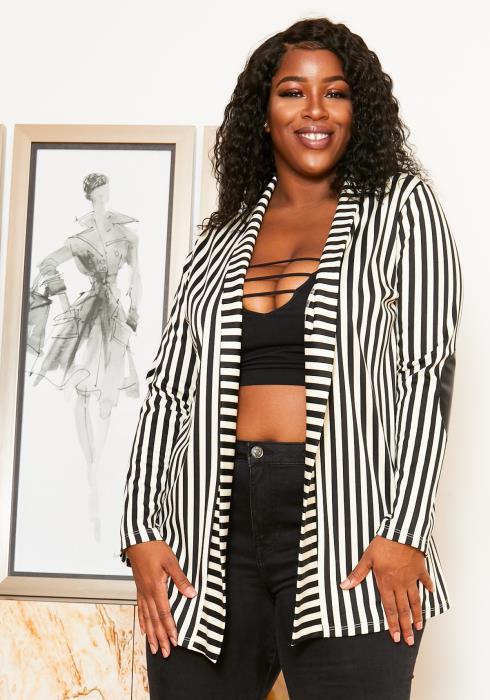 Asoph Plus Size Womens Leather Elbowed Stripe Blazer
