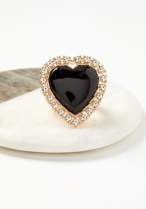 Black Heart Adjustable Elastic Ring