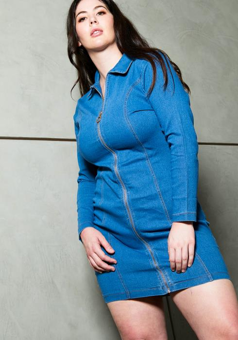 Asoph Plus Size Denim Zip Up Casual Dress