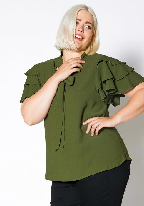 Asoph Plus Size Womens Ruffle Tiered Shoulder Blouse